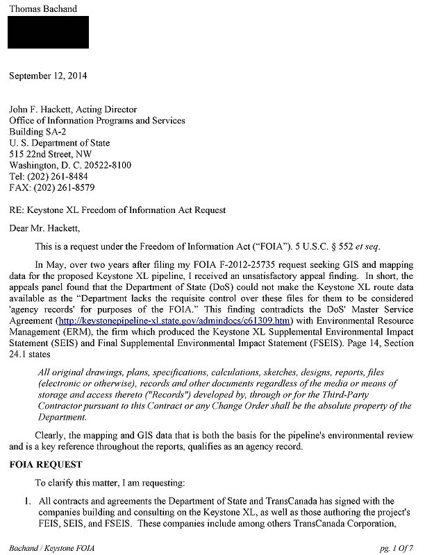Department of State FOIA Request F~2014-16267, page 1