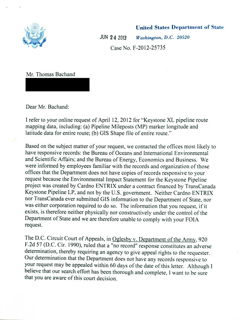 DOS Final FOIA Response Keystone XL GIS data request